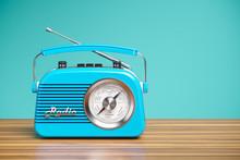 Vintage Blue Radio Receiver On Wood Table. Wallpaper 3d
