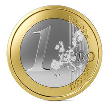 One Euro Coin 3d Front View