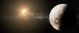 alien world, planet with moon in distant solar system (3d space illustration)