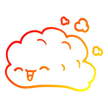 Warm Gradient Line Drawing Cartoon Happy Cloud