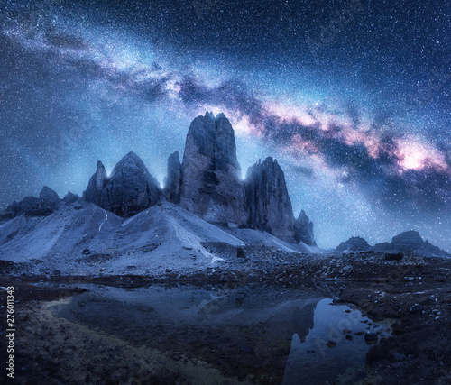 Milky Way over mountains at night in summer Wallpaper Mural