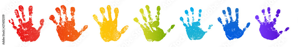Fototapeta Hand rainbow print isolated on white background. Color child handprint. Creative paint hands prints. Happy childhood design. Artistic kids stamp, bright human fingers and palm. Vector illustration
