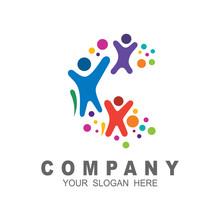 Creative Human Logo Design, Letter C Logo, Abstract Vector Logo, Colorful Icon ,dots