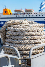 A Coil Of Mooring Line In Fron...