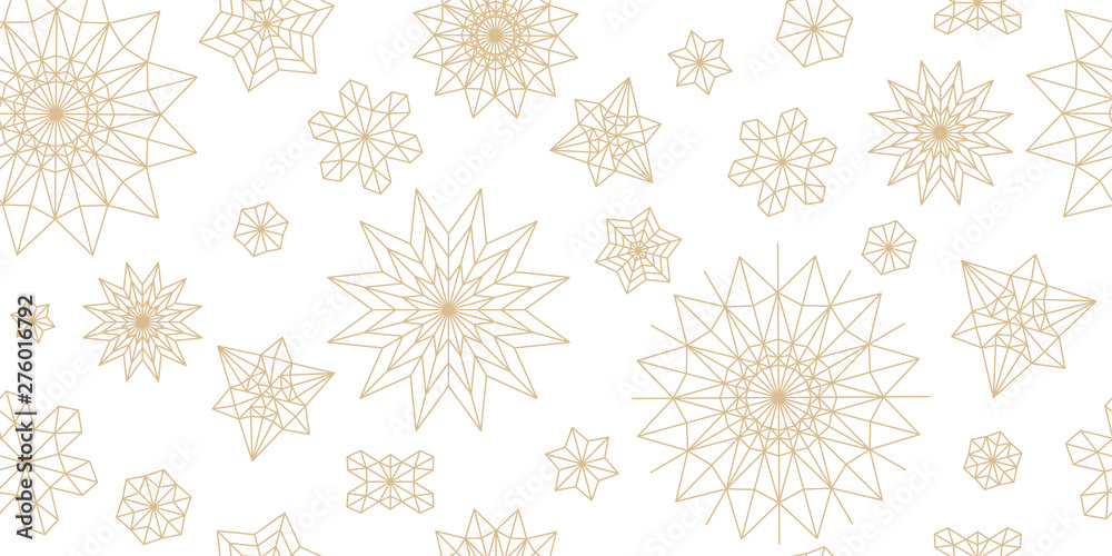 Fototapeta Abstract New Year pattern. Golden christmas snowflake on white background. Seamless ornament for decor, wallpaper, gift paper and design of New Year's souvenirs