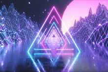 80's Abstract Retro Futuristic Background. Beautiful 3d Illustration With Ultraviolet Neon Triangle Modern Lights. Retro Wave Stylization. Flying In Space With Particles And Sun