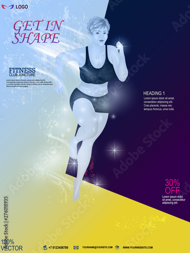 Woman Fitness Poster Template  Sports Motivation  Workout
