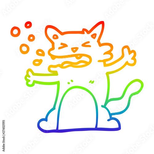Photo  rainbow gradient line drawing cartoon hiccuping cat