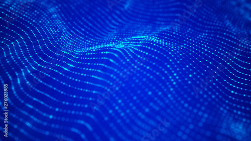 Poster Violet Wave 3d. Wave of particles. Abstract Blue Geometric Background. Big data visualization. Data technology abstract futuristic illustration. 3d rendering.