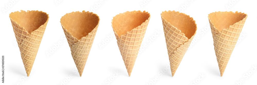 Fototapety, obrazy: Set of empty crispy wafer ice cream cones on white background. Sweet food