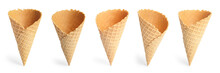 Set Of Empty Crispy Wafer Ice Cream Cones On White Background. Sweet Food