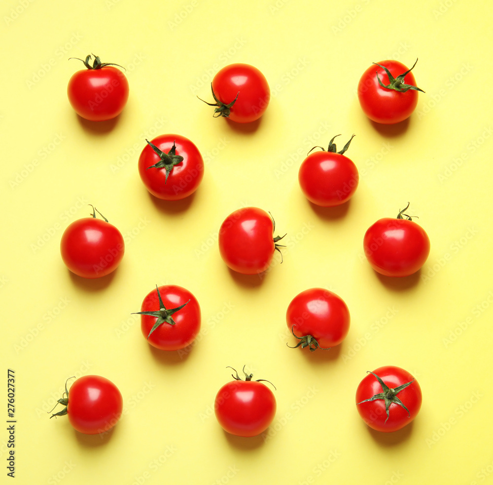 Fototapety, obrazy: Flat lay composition with cherry tomatoes on color background