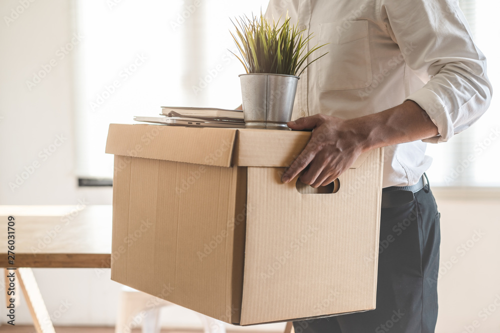 Fototapety, obrazy: Downsize business. Employee moving off from office after sacked from company.