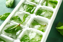 Tray With Ice Cubes And Mint, ...