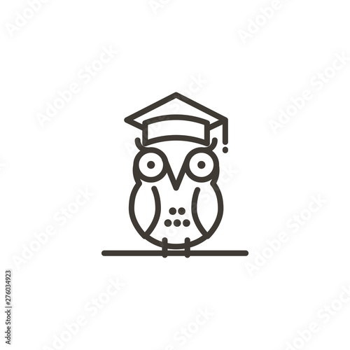 Canvas Prints Owls cartoon Smart owl with a student academic cap vector icon. Thin line illustration of a school student owl