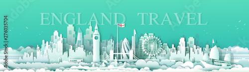 Foto auf AluDibond Reef grun Vector illustration travel london england famous landmarks Europe.