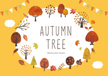 秋の木と葉のイベントフレーム水彩