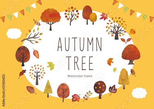 Fototapeta 秋の木と葉のイベントフレーム水彩 obraz