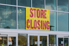 Store Closing Sign On Business...