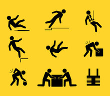 Set Of Icon About Falling And ...