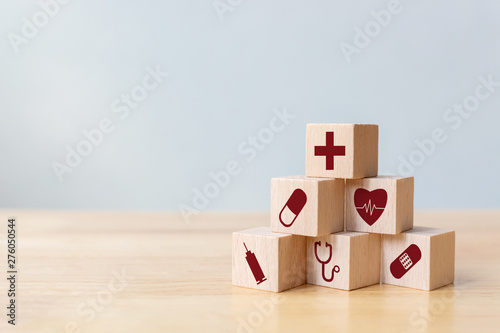 Fotografie, Obraz  Wood block stacking with icon healthcare medical, Insurance for your health conc