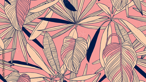 Foliage seamless pattern, light orange leaves on pink background, line art ink drawing vintage style