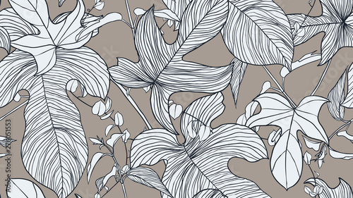 Foliage seamless pattern, light blue leaves on brown background, line art ink drawing vintage style