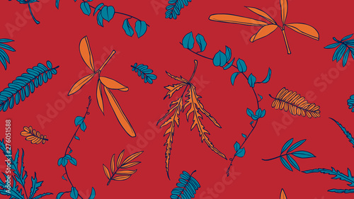 Foliage seamless pattern, green and orange leaves on red background, line art ink drawing vintage style