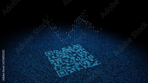 Valokuvatapetti Digital Technology QR Code, Network Identification and Connection