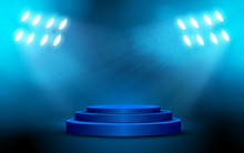 Blue Podium With Spotlight On The Stage