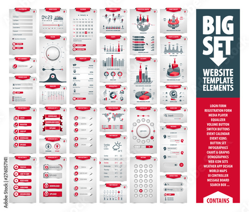 big vector set of website template and mobile app elements