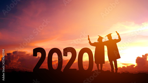 Valokuva 2020 New year Silhouette people graduation in 2020 years education congratulatio