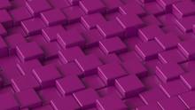 Purple Blocks. Art Concept. 3D Rendering.