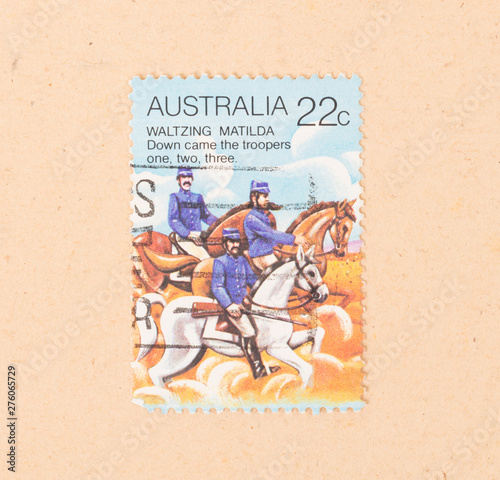 Photo  AUSTRALIA - CIRCA 1980: A stamp printed in Australia shows a scene of Waltzing M