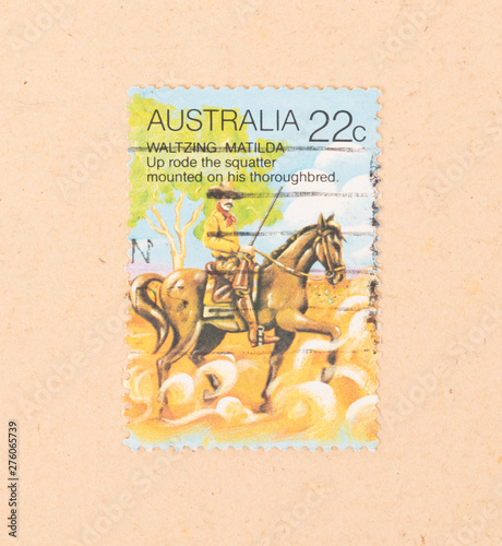 AUSTRALIA - CIRCA 1980: A stamp printed in Australia shows a scene of Waltzing M Canvas Print