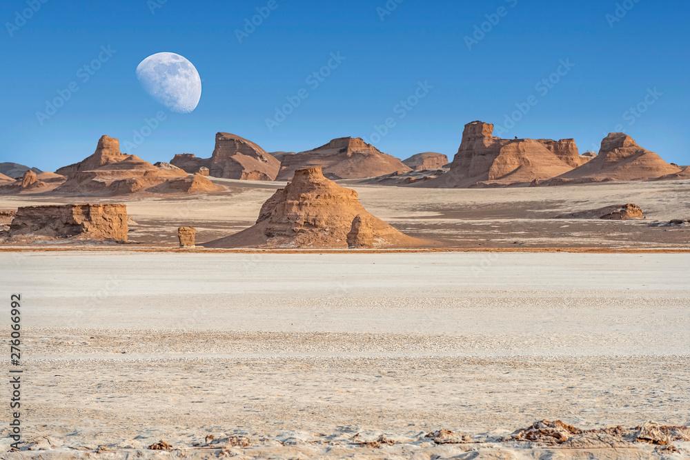 Fototapety, obrazy: Dasht-e-Lut, Lut desert,hottest desert in the world, also known like Kalut Desert with full moon above horizon