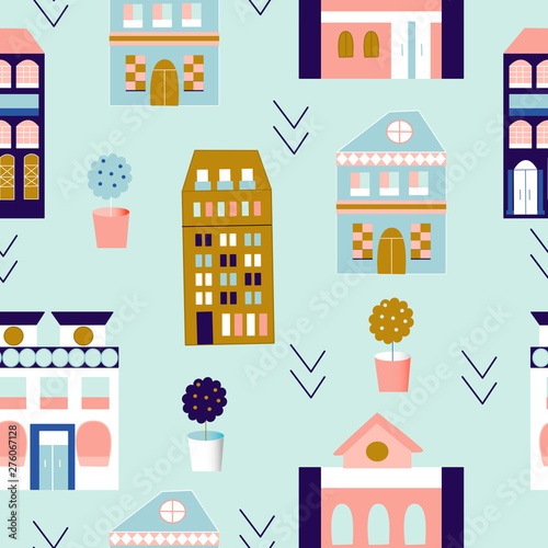 Canvas Print Lisabon colorful buildings in a seamless pattern design