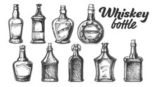 Collection Of Scotch Whisky Bottle Set Vector. Different Hand Drawn Stylish Modern And Vintage Bottle Of Traditional England Grain Alcoholic Drink. Monochrome Mockup Design Cartoon Illustration