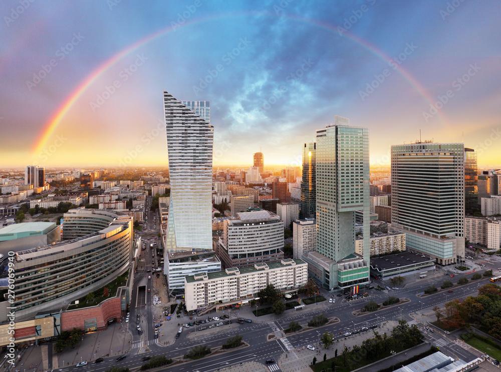 Fototapety, obrazy: Rainbow over panorama of Warsaw, Poland, Europe