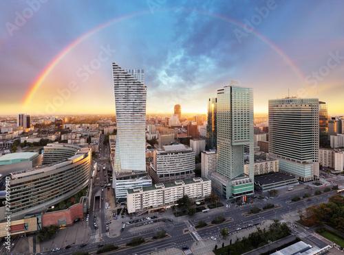 Rainbow over panorama of Wa...