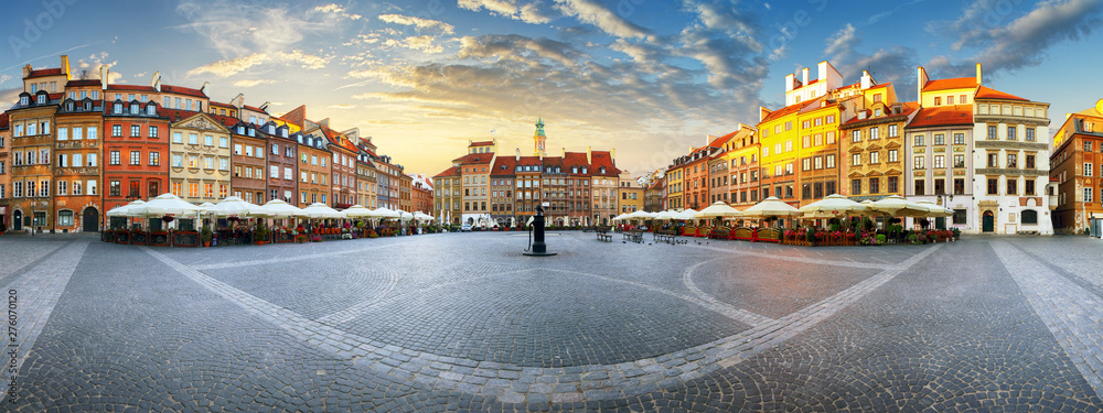 Fototapety, obrazy: Panorama of Warsaw odl town square at sunset