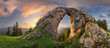 canvas print picture - Mountain landscape with big rock at sunset - Low Tatras, Slovakia