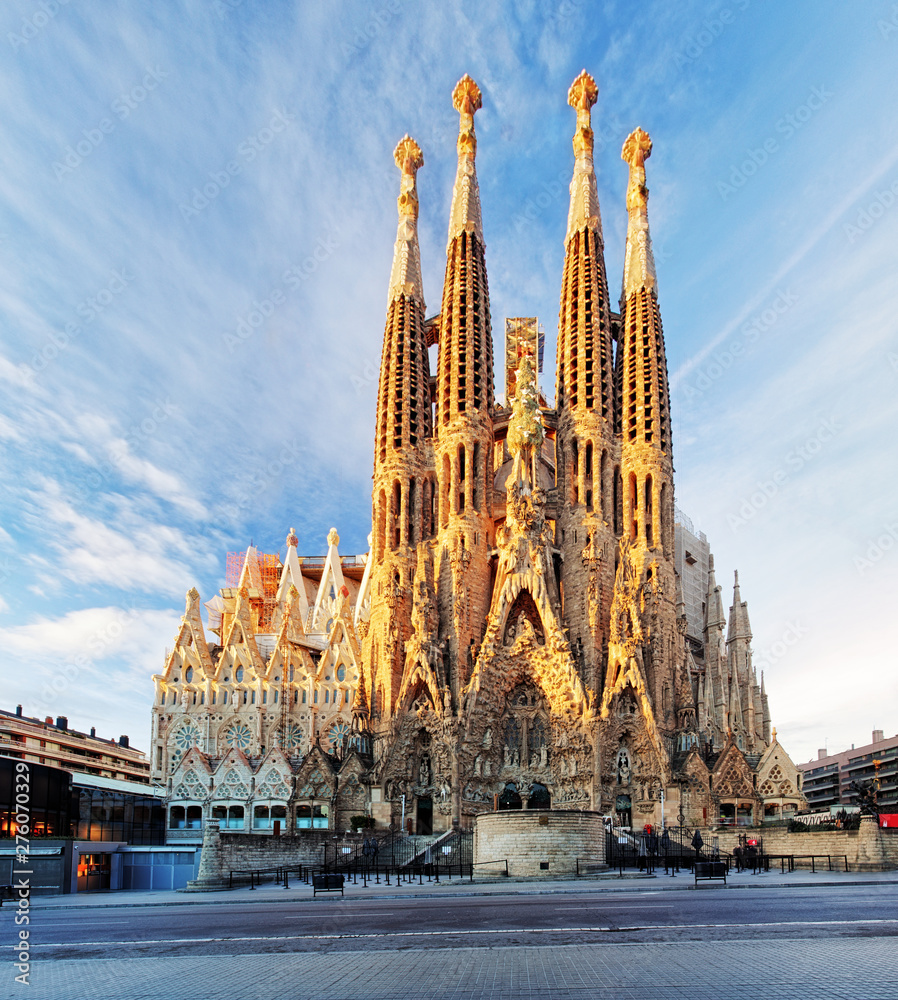 Photo  BARCELONA, SPAIN - FEBRUARY 10: La Sagrada Familia - the impressive cathedral designed by Gaudi, which is being build since 19 March 1882 and is not finished yet February 10, 2016 in Barcelona, Spain