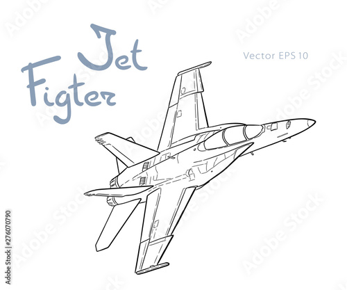 American jet fighter aircraft. Vector freehand draw Fototapet