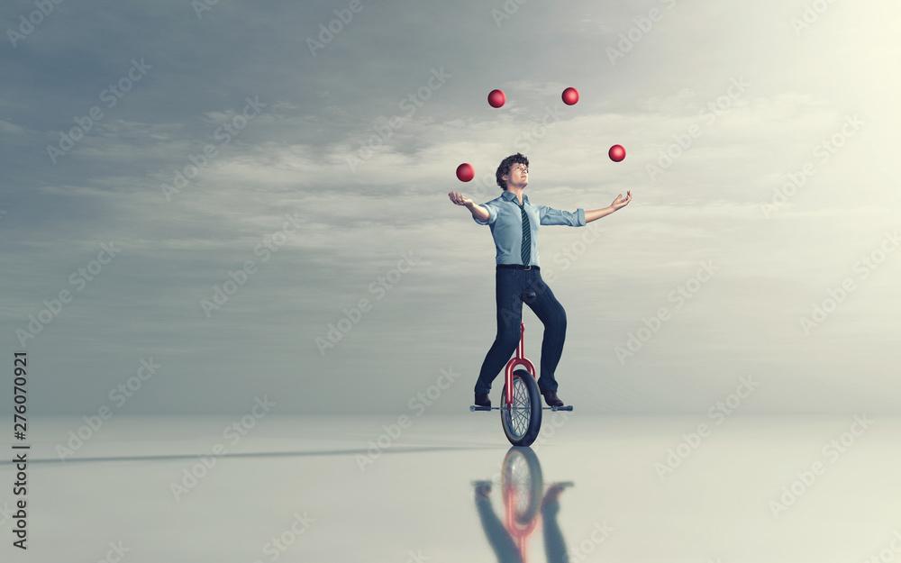 Fototapety, obrazy: Juggling on unicycle