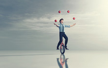 Juggling On Unicycle
