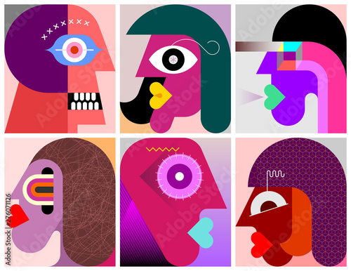Fotoposter Abstractie Art Six Persons Portraits vector illustration