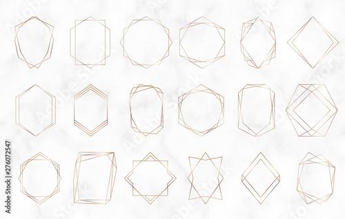Fototapeta Gold Geometric Polygonal Frames Decorative Lines Borders Luxury Design Elements For Wedding Invitation Blog Posts Banner Celebration