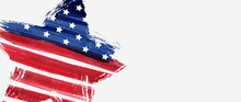 Banner With USA Flag In Star Shape
