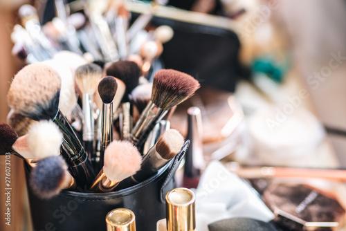 Fototapeta Variety of professional make up brushes obraz na płótnie